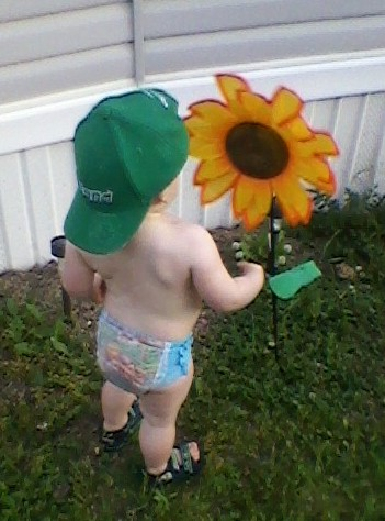 Photo of toddler boy, back turned to camera with green Irish hat turned around, looking at flower in front of a mobile home on a summer's day by Marion Weiscarger Rougsedge. Copyright 2012, all rights reserved. Featured on Nippies.com Summer 2012 issue.