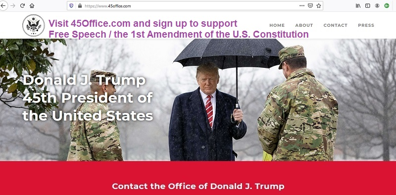 Presidnet Donald J. Trump launches social media platform 45Office.com / 45 office